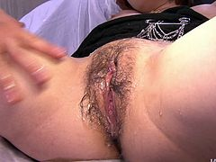Incredibly alluring Japanese babe is sucking hard cock like a real pro. Then she is penetrated in her hairy cooch in a missionary position.