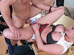 Busty blonde teacher Alexis Ford pleases hunk Johnny Sins in dirty hardcore