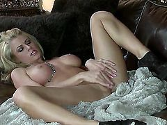 Wonderful blonde girl Randy Moore hotly slid off her panties spread slender long legs to show plumy tight cunt and its masturbation with naughty fingering!
