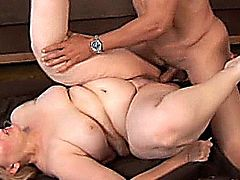 Sexy older fatty with lovely big tits fucks a lucky guy who thanks her by cumming all over her pretty face