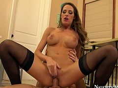 She is attractive brownhead girl with gorgeous body. She lies on a table in the office getting hammered hard in a missionary position. Tasty Naughty America porn clip.