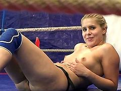 Pretty hot blonde cat fighter chick Brandy Smile and brunette babe Tigerr Benson are having naughty lesbian fuck with strapon on the ring!