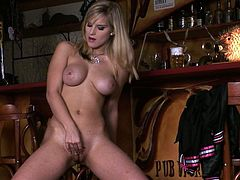 Fantastic and elegant blonde starts with caressing her sappy boobs. When her muff gets really wet, babe takes off her sexy clothes, spreads her well-shaped legs and starts to play with her pussy.
