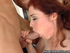 Voracious bitch with curly red hair blows meaty cock deepthroat. Then she is penetrated in her snatch from behind and nailed bad.