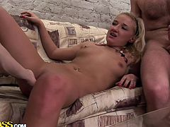 Russian blond slut gets pounded into her mouth and pussy in group sex video