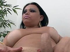 Oustanding tited transsexual gash tugging onto her big pecker