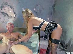 Attractive lusty milf nurse Cherie Deville with big firm hooters and great hunger for cock in black lingerie gives head to Johnny Sins and gets rammed hard in awesome fantasy