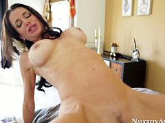 Lewd brunette babe rides an aroused dick in cowgirl style before she gets to it with her delicious mouth for a blowjob. Later she bends over a bed for a steamy fuck from behind in doggy style in sultry Naughty America sex video.