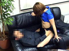 Japanese chick gets fucked doggy style in an office