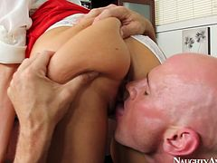 Sex hungry bald boss makes out with a sextractive office manager right in his office. He bends her over a table to give her a rimjob before she stands on her knees in front of him for a zealous mouth fuck.