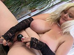 She's chubby blonde and horny as hell. Our beautiful mature Jessika want to fuck her pussy hard so she grabs her glass dildo and a vibrator and starts working for that well deserved climax. Enjoy watching her filling that cunt and having a great time doing so. What a fucking whore.