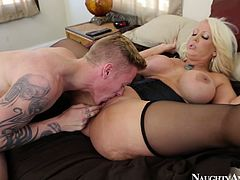 Curvy slut Alura Jenson gets her nasty pussy eaten by tattooed dude