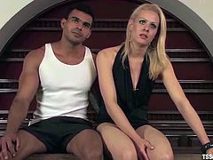 Mel Voguel the stunning blonde transsexual gives a blowjob and whips the guy. After that he gets ass fucked on a table.
