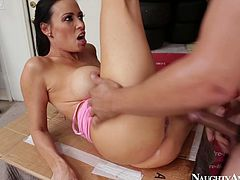 She is voracious brunette chick with succous big boobs and rounded booty. She is penetrated in her horny cunt and drilled deep and rough.