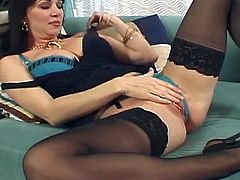 Utterly sexy brunette mature with voluptuous frame pulls tight her thongs in between her pussy lips before she starts stroking her pinkish vagina with manicured fingers until a young fucker joins her for a fuck in missionary style.