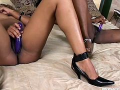 They are black and ready to fuck. Meet Nikki and Exotica, two ebony cunts that are burning with desire for each other. The girls take their time and warm up before fucking. They kiss, rub their cunts and much more. Stay with them and enjoy some incendiary chocolate lesbian fuck!