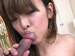 Attractive girl with sexy body and sweet face is sucking two cocks working her talented mouth. Then she stands on her all four getting rammed bad doggy style. Tasty Jav HD porn vid.
