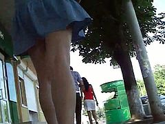 Voyeur loves watching his scenes after filming hotties in public upskirting