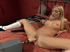 This blonde babe will make you dick hard with just a quick look at her body in this great scene where she tried out fucking machines.