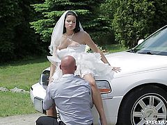 Awesome hot babe fucked after the wedding