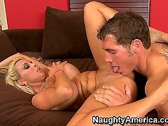 Blonde angel Holly Halston is one of the hottest pornstars and she is more than ready to take care of his hard dick. She is taking it from behind real hard.