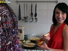 While cooking a delicious dinner, two steamy Russian sluts in seductive mini dresses flash their appetizing asses during upskirt shots in sultry sex video by WTF Pass.