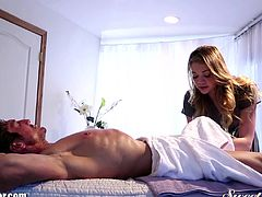 There is nothing like a nice hard fuck after a soothing massage. This girl rubs her hands all over his muscular body and is then ready to get fucked hard.