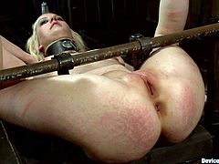 Hot blonde girl gets tied up in strange pose. Then a guy fucks her deep in her pussy and she then she sucks his dick.