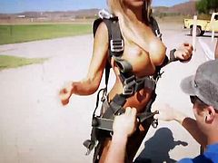Check out super hot big titted playboy chicks having fun sky diving totally naked. Their big jugs are bouncing and it is super hot!