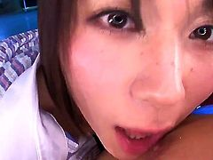 Yuzuka Kinoshita is a cute horny asian with sloppy mouth and wet tongue. The chick wants to be fucked hardcore and tastes her dirty husband who turns to be very sweet