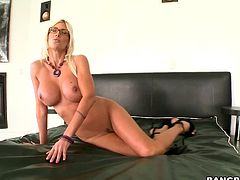 Busty blonde milf Puma Swede shows her big fake boobs to some guy and pleases him with a blowjob. Then they bang ardently in cowgirl and other positions and seem to be unable to stop.