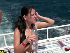 Salty looking Russian bitches having great time on the yacht. They take sunbath wearing tiny seductive bikini and stroke each other with rapacious hands in steamy sex video by WTF Pass.