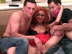 Frisky Russian hoe gets her muf tickled by two kinky dudes