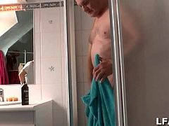 This cute little amateur European nurse is giving this old guy a shower and then starts sucking his cock after he's all cleaned up. Then they do sixty-nine for a while and she sits on his face while he jacks off. What a nurse!