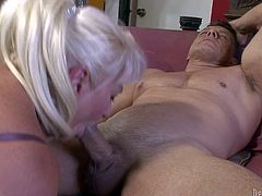 Dana Hayes is s blond-haired granny with great cock sucking experience. She gives blowjob to well built hard cocked guy. She sucks his rock hard dick non-stop and cant get enough. Watch dirty oldie blow!
