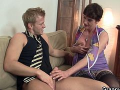 Old woman hasn't had sex for a while till this young and well hung guys shows up in her life! Horny mature lady gives head and then opens her legs for a good hardcore fuck.
