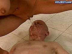 Young attractive blonde Nesty gets her neat hairless pussy banged by hard dicked older guy before he takes golden shower. Watch old and young lovers play with pee after hard sex.