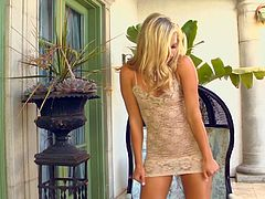 Titless blond babe in steamy lacy mini dress gets undressed until she proceeds to pounding her spoiled vagina with dildo.