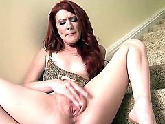 Pretty redhead chick Elle Alexandra shows her gorgeous body and masturbates