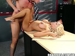Courtesy of Brazzers you can see a busty blonde teacher getting her shaved slit banged balls deep into heaven by one hung and horny student.
