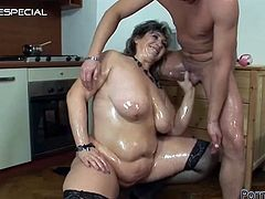A big old fat horny momma will take a hardcore fucking in the ass while she's getting her wet pussy pumped.