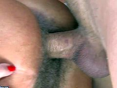 Short haired mature blonde whore with natural hanging tits and sheep tattoo gets her hairy cunt licked by young handsome buck and screams while fucks her hard in doggy style position