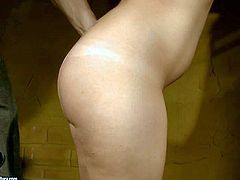 Bijou is another naked helpless slave girl that gets used by kinky master in the dark of the dungeon. Sweet girl with small natural tits with shaved puffy pussy gets her bare ass spanked before wax play.