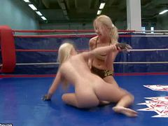 Brandy Smile and Nikky Thorne are two petite blondes with natural tits and tight neatly shaved pussies. They wrestle in the ring and finger fuck each others vaginas and assholes.