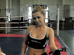 Two gals fighting inside a ring and later freaking each other sexy wet pussy.