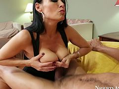 She is devilish porn actress with big boobs and feisty sexual energy. She tops the guy jumping on a hard dick like crazy. Then she sucks dick deepthroat and gives awesome blowjob.