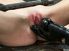 If you're into BDSM then you're gonna love this one as we have a hot bounded babe fucked by a machine!