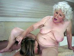 Granny Norma and young beauty Vicky Braun are lesbians that cant keep their tongues off each others pussies. Young babe gets tongue fucked before aged woman with hairy snatch parts her legs to get some pleasure too.