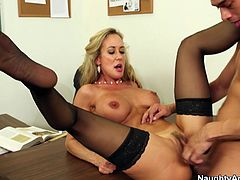 After a jaw dropping blond mature in steamy black stocking is done hoping on a hard cock in cowgirl style, she gets her muf pounded in missionary style.