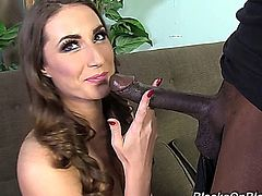 Sexy English brunette Paige Turnah prepares to take on two big black cocks. She warms up behind the scenes by giving Wesley Pipes some bonus head.